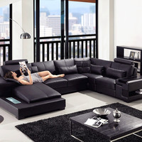 Divani Casa Diamond - Modern Black Bonded Leather Sectional Sofa