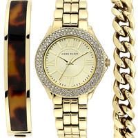 Anne Klein Ladies Gold Tone and Swarovski Crystal Watch with Three Interchangeable Straps