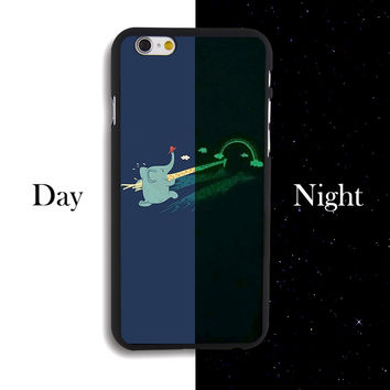Cartoon Elephant Giraffe Animal Painted Hard Plastic Noctilucent Phone Case Cover For IPhone 4 4s 5 5s 5c se 6 6s Plus 7 7plus -0329