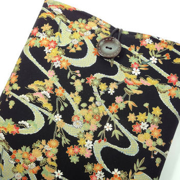 Retro Macbook Case, Handmade Fabric Laptop Sleeves, Accessory For Laptop, Japanese Cotton Fabric Maple Leaves Chrysanthemum Black