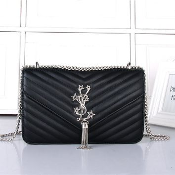 """Yves Saint Laurent YSL"" Women Simple Fashion V Quilted Five-pointed Star Metal Chain Single Shoulder Messenger Bag"