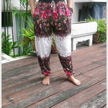 Yoga Flora Pants Boho Vintage White Style Print Beach Thai Rayon Tribal Plus Size Rayon Fabric Exercise Clothing Cloth Handmade Flower