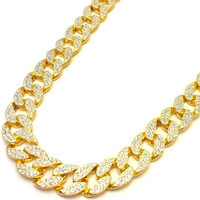 Miami Cuban Chain Necklace 14k Gold Finish Iced Out full Stone