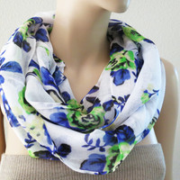 ON SALE - Floral Scarf Blue Green Infinity Chiffon Scarf Shawl Rose Women Gift