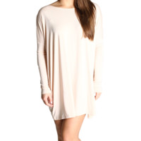 Cream Piko Tunic Long Sleeve Dress
