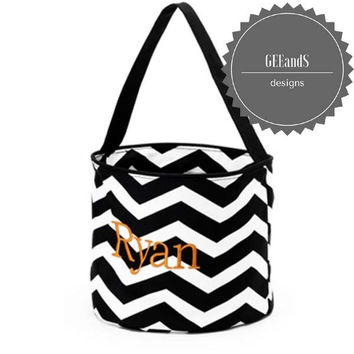 Personalized Halloween bucket Black Chevron
