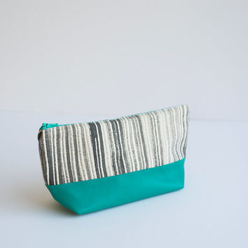 READY TO SHIP Hand Painted Canvas Zipper Bag  in Vertical Lines, Turquoise Leather Bottom