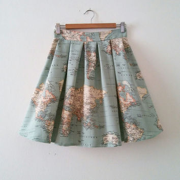 World Map Skirt, Map Printed High Waisted Skirt in Blue Green, Vintage Inspired Atlas Printed Skirt , World Map Cotton Skirt, Made to Order