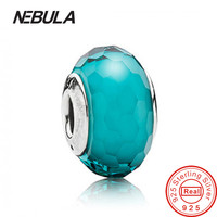 Turquoise Colorful Faceted Glass Charm Beads Fit Pandora Bracelets Original 925 Sterling Silver Blue Faceted Glass Beads Jewelry