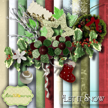 Let it Snow - Christmas themed Digital Scrapbook Kit - Printable Backgrounds - 12x12 inch Papers - FREE Quickpage Layout
