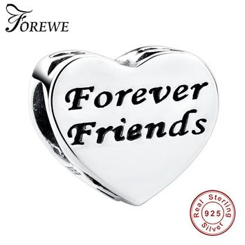 FOREWE 925 Sterling Silver Forever Friends Charms Clear CZ Heart Beads Fit Pandora Charm Bracelets Authentic Jewelry Making