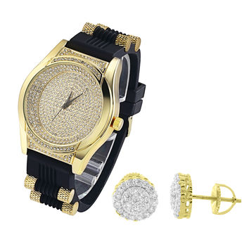 Men's Oval Shape Lab Diamonds Iced Out Watch Silicone Strap with Matching Earrings Combo