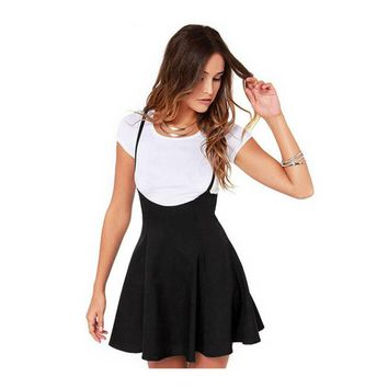 2018 Womens Fashion Black Skater Dress With Shoulder Straps Pleated Hem Braces Dress Saia Femininos Braces Dress Vestidos Mujer