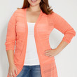plus size cardigan with stripes and open stitching