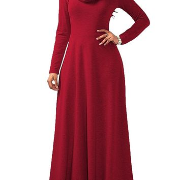 Womens Casual Maxi Dresses Long Sleeve Cowl Neck Solid Swing Dress