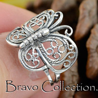 SIZE 9 Solid Sterling Silver Unique New Butterfly Women Ring