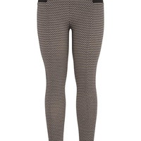The Skinny Knit Pant With Black And Tan Chevron Print - Black Combo