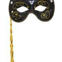 Black Venetian Masquerade Mask on a Stick with Gold Glitter Scrollwork, Acrylic Stones, and Fabric Trim