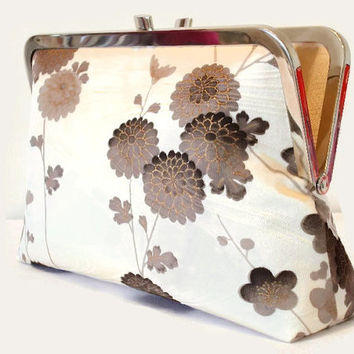 "Ivory Silk Clutch Bag With Brown Chrysanthemum And Blosssom Floral Design, Silk Purse Made From Japanese Kimono Silk Bridal Purse 9"" x 5.5"""