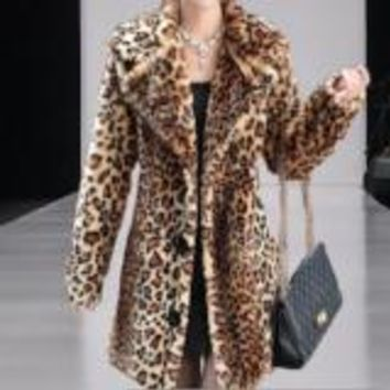 Cute, Warm, Leopard Faux Fur Coat, 3/4 Length,  Fashion Statement Piece! Sizes S to 3XL