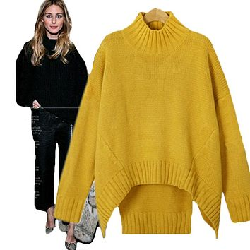 Fat MM oversize XL-3XL oversize turtleneck women pullover knitted sweater Long-sleeved split fashion pullover jumpers Pull femme