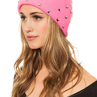 MARIALIA Hot Pink Beanie with Studs