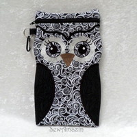 Black and White Owl Zipper Case, Large for small tablet device