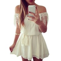 Towallmark(TM)Women Lace Chiffon Sleeveless Evening Party Club Mini Dress
