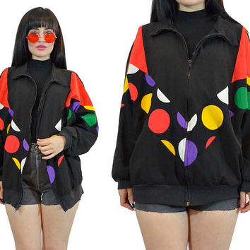 vintage 90s polkadot windbreaker jacket vivid neon soft grunge op art track jacket zip up paper thin geometric paper thin 1990s medium large