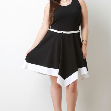 Contrast Belted Sleeveless Handkerchief Hem Fit And Flare Dress