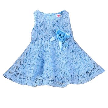 Fashion 2017 Summer New Girls kids Children Noble Fairy Bow Princess lace dress High Quality Style
