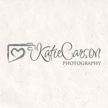 Premade photography logo design using a camera logo, heart logo. Vector and watermark files included.