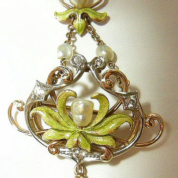 Fab ART NOUVEAU 14k Diamond and Pearl ENAMEL Necklace w Removable Pin