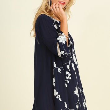 Embroidered Floral Dress - Navy