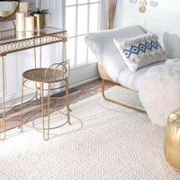 Cream Chunky Cable Area Rug