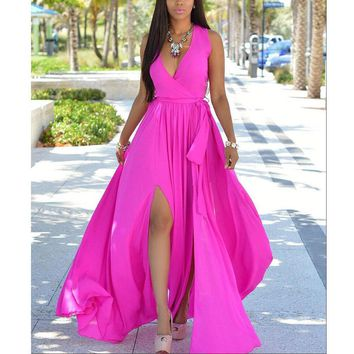 New Sexy Party Dress Women Sleeveless Deep V Neck Summer Dress Long Side Split Fit And Flare Sash Beach Bar Dress