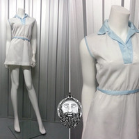 Vintage 70s White Mini Dress Pastel Blue Sports Luxe Shift Tennis Dress Sleeveless Collared Dress Baby Blue 60s Mod Gogo Outfit Scooter Girl