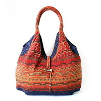 Women's Tribal-inspired embroidery tote boho bag | weekender bag with leather handle