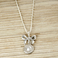Bullet & Bow Charm Sterling Necklace WIN-223-N-BN