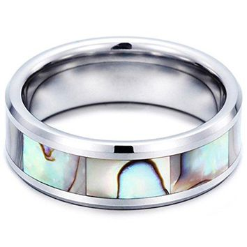 8mm Tungsten Carbide Ring Vintage Abalone Shell Inlay Wedding Engagement Promise Band
