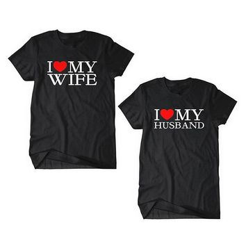 EnjoytheSpirit Matching King and Queen T-Shirts Couple Matching Tshirt Husband and Wife Wedding Anniversary Gift Soft Cotton