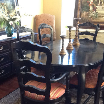Vintage French Provincial Dining Set: Table and Six Chairs