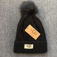 UGG Fashion Unisex Winter Warm Knit Hat Cap(6-Color) Black I