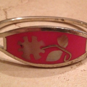 Vintage Alpaca Silver Bracelet Coral with Mother of Pearl Inlay Mexican Jewelry