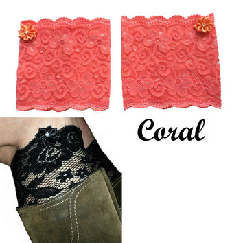 Coral Floral Scalloped Stretch Lace Satin Rhinestone Peek a Boo Boot Cuffs Lacey Boot Cuffs Boot Toppers
