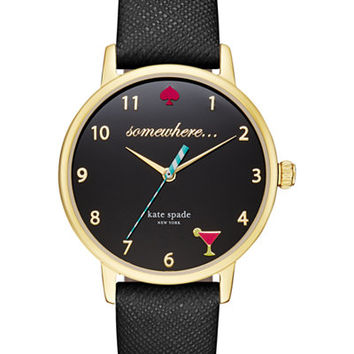 kate spade new york Women's Black Leather Strap Watch 34mm KSW1039 - Kate Spade New York - Jewelry & Watches - Macy's