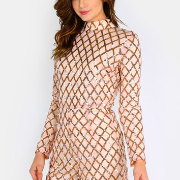Mock Neck Sleeved Sequin Romper BLUSH | MakeMeChic.COM