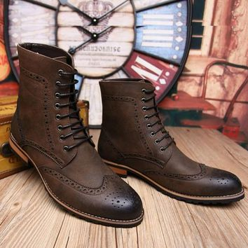 Men Brown Brogue Wingtip Lace Up Ankle Genuine Leather Boots