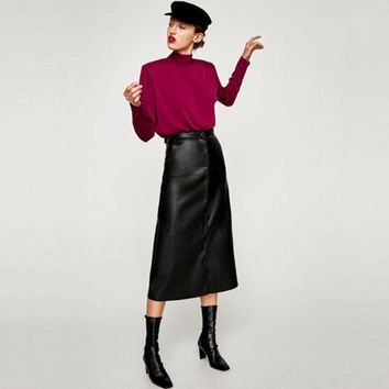 DCCKXT7 Elegant Fashion Single Row Buttons PU Leather Long Skirt
