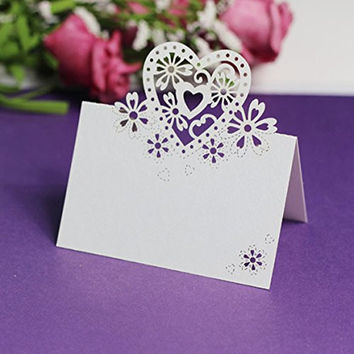 Worldoor® Hot Sale 50pcs Wedding Party Table Name Place Cards Favor Decor Love Heart Laser Cut Design (White)